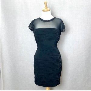 LAUNDRY by SHELLI SEGAL Black Ruched Bodycon Dress